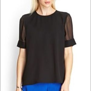 Forever 21 black sheer sleeve blouse